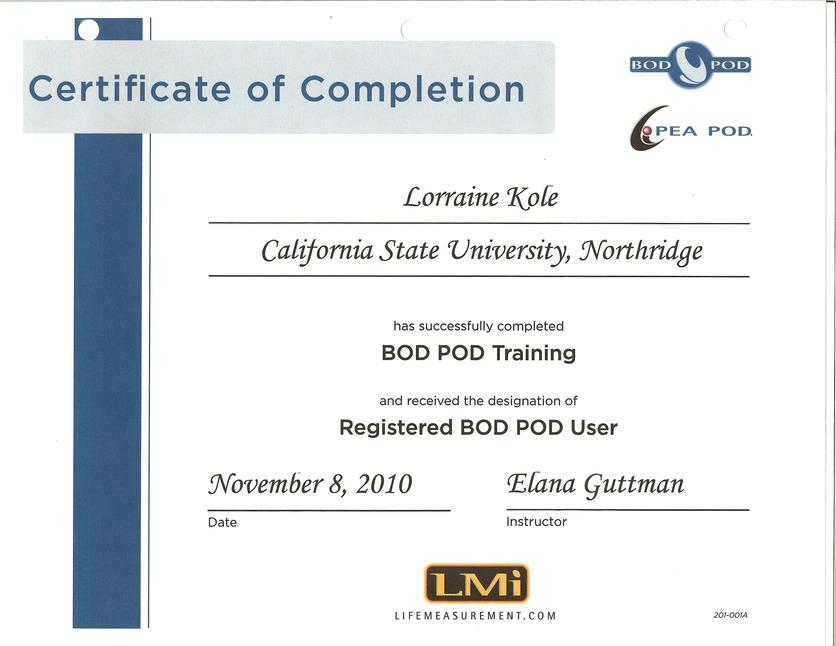 Bod Pod Certification Lorrie Kole Ms Rdn Lorrie Kole